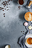 Coffee drinks with appetizing foam top view