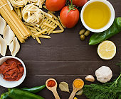 Food ingredients for cooking Italian pasta.