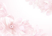 Love letter blank template with magnolia flower pattern background