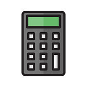 Calculator vector color icon isolated on white background. Calculator icon color for infographic, website or app.