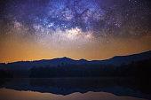 Milky Way over mountain.