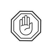 Stop sign outline icon. Vector illustration.