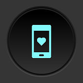 Dark button icon phone love. Button banner round badge interface for application illustration