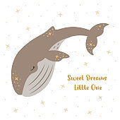 Kids vector cartoon illustration of a cute dreamy baby whale in boho colors. Sweet dream, good night theme.