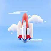 Launching rocket on blue sky background. Startup and exploration concept. 3D Rendering