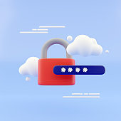 3d lock and password field. Password protected secure login concept. minimal creative concept in blue and black colors. 3d rendering