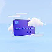 3d illustration of clouds with bank card. 3d render Bank card and cloud on blue background