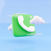 3d render cloud and call phone on blue background. Illustration call center icon and cloud 3d render.