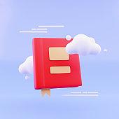Cloud floating on blue background books. Minimal idea concept. 3D render