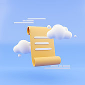 Paper scroll with cartoon style clous abstract background 3d render