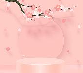 Branch of pink sakura. Japanese cherry tree blossom. Vector Illustration. 3D stand vector background