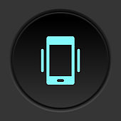 Dark button icon phone vibrate. Button banner round badge interface for application illustration