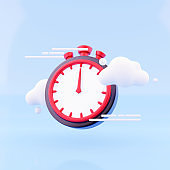 3d render timer with cloud on blue background. Stopwatch, timer 3d renderin icon and illustration.