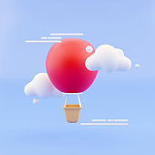 3D Rendering concept of summer vibe. a yellow hot air balloon with a basket among the clouds on blue sky background. 3D Render.