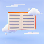 cartoon style minimal Open book isolated on pastel blue background. 3d rendering