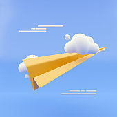 3d rendering illustration. Paper airplane icon. Modern trendy design. Pastel colors.