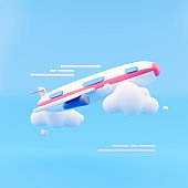 Flying air plane with cloud on blue background. Creative minimal concept. 3d rendering