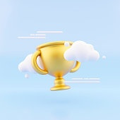 Gold trophy cup with cloud on blue background.