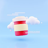 Blank paper Coffee Cup For Branding with cloud, 3d render illustration.