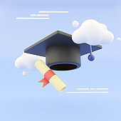 graduation hat and diploma cartoon style with clouds on abstract background. 3D Illustration. 3D Rendering.