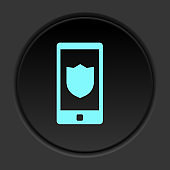 Dark button icon Phone shield security. Button banner round badge interface for application illustration