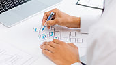businessman analyzing financial data and making a marketing plan