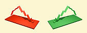 Illustration of two graph red and green color on light yellow background. Copy space. Financial markets and symbols. Banking and Insurance concept. Finance and economy chart. Growth and crisis. 3D.
