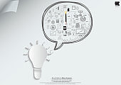 Light bulb with  plan Business  icon various  - Creativity modern Idea and Concept illustration -Vector