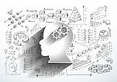 Human Head  - Background Plan Business - modern Idea and Concept  illustration  - Vector