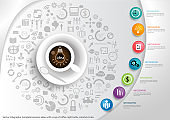 illustration business design idea and concept think creativity perspective various. for success,plan,think,search,analyze,communicate, innovation technology modern.