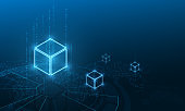 Abstract circuit networking blockchain server concept and  cryptocurrency block chain server abstract background. Linked block contain cryptography hash and transaction data.Abstract circuit networking blockchain server concept and  cryptocurrency block c