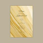 Elegant wedding menu in shades of gold with glitter highlights