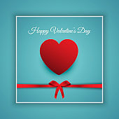 Happy Valentines Day background with red ribbon