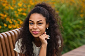 Mixed race young black woman