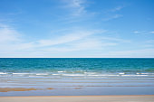Beautiful blue tropical sea on the beach and brightly sky