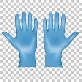 Blue Medical latex protective gloves, realistic black gloves on transparent
