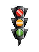 Traffic light with red, yellow and green color. Flat vector illustration isolated on white background