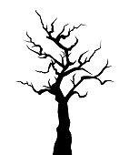 Halloween spooky bare tree. Vector black silhouette.