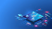 Digital background. Cube, box, blockchain consists matrix of digits. Futuristic microchip CPU processor with lights on the blue background. Quantum computer, large data processing, database concept.AI