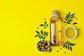 Bottle of oil, olives, twigs and pepper on yellow background