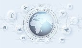 Global communication network around planet, worldwide exchange of information by internet. Industry 4.0 concept infographic. Spider web of network connections with on white background. Neumorphic icon