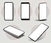 Realistic smartphone mockup. Detailed and beautiful collection smartphone white blank screen at different angles. 3d isolated vector technology mobile mockup. Mockup set isolated on white background.