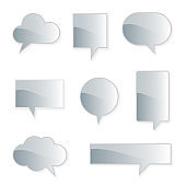 collection set of blank hand drawn speech bubble balloon with shadow, think speak talk whisper text box