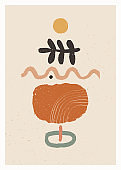 Abstract art minimalist poster. Scandinavian abstract organic composition in natural earthy colors for wall decoration. Vector hand-painted illustration