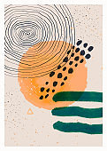 Abstract art minimalist poster. Scandinavian abstract geometric composition for wall decoration. Vector hand-painted illustration