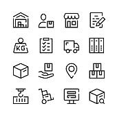 Warehouse icons. Vector line icons. Simple outline symbols set