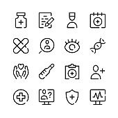 Medicine icons. Vector line icons. Simple outline symbols set