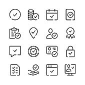 Check marks icons. Vector line icons. Simple outline symbols set