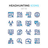 Headhunting icons. Vector line icons set. Premium quality. Simple thin line design. Modern outline symbols collection, pictograms.
