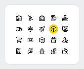 Delivery vector line icons. Simple outline symbols. Fast delivery, retail commerce, ecommerce, distribution, export and import concepts. Thin line icons design. Trendy modern linear signs. Vector delivery icons set